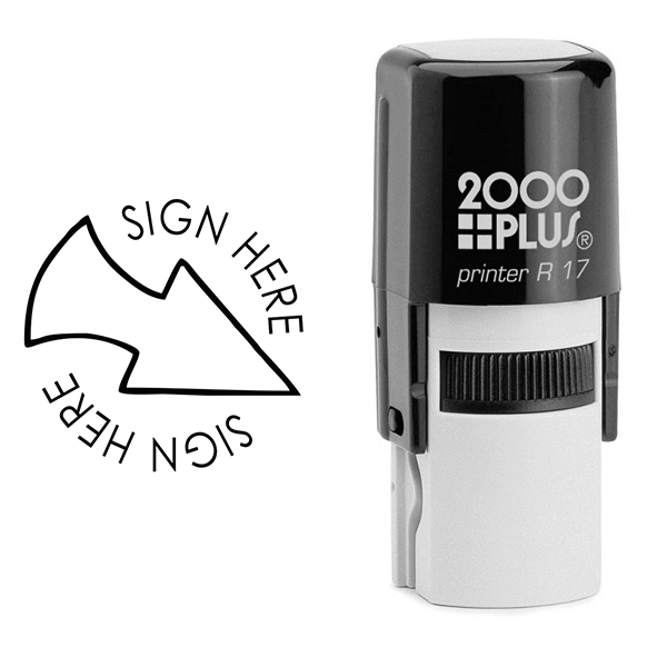 Sign Here Arrow Self Inking Stamp Body and Design