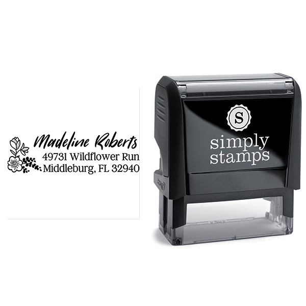 Wildflower Floral Address Stamp Body and Design