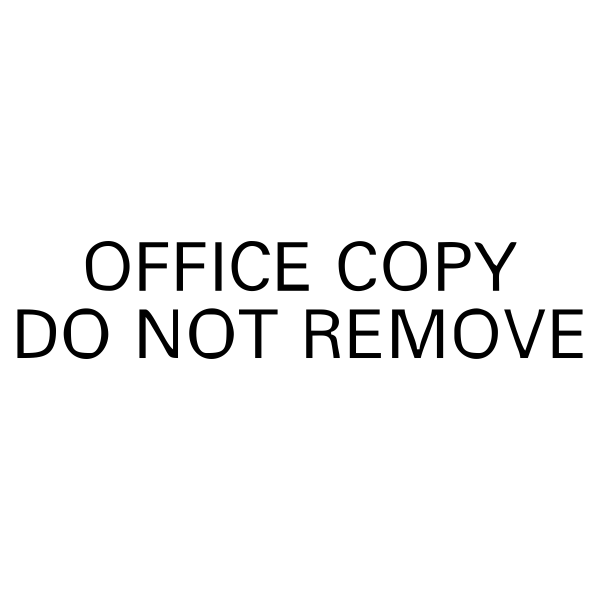 Office Copy Do Not Remove Stock Stamp