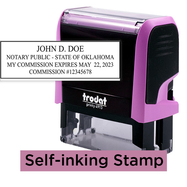 Oklahoma Notary Pink Stamp Rectangle
