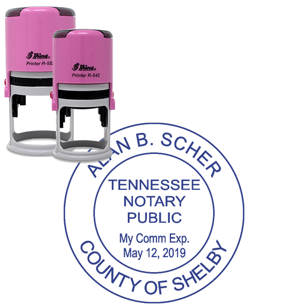Tennessee Notary Pink Stamp - Round Design