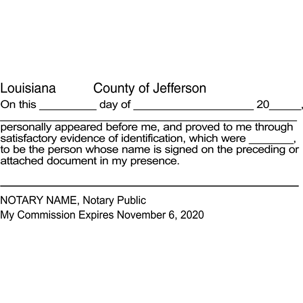 Louisiana Signature Witness Notary Stamp Imprint Example