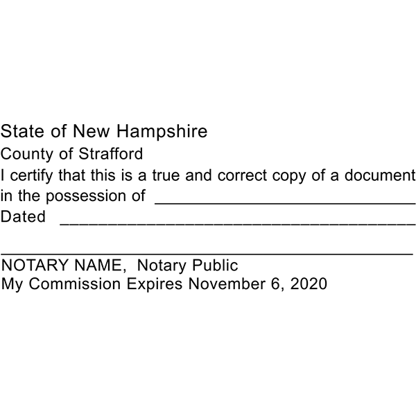 New Hampshire Certified True Copy Notary Stamp Imprint Example