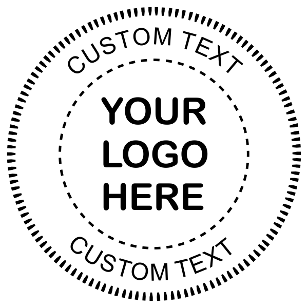 Logo Pink Embosser Seal with Text Impression