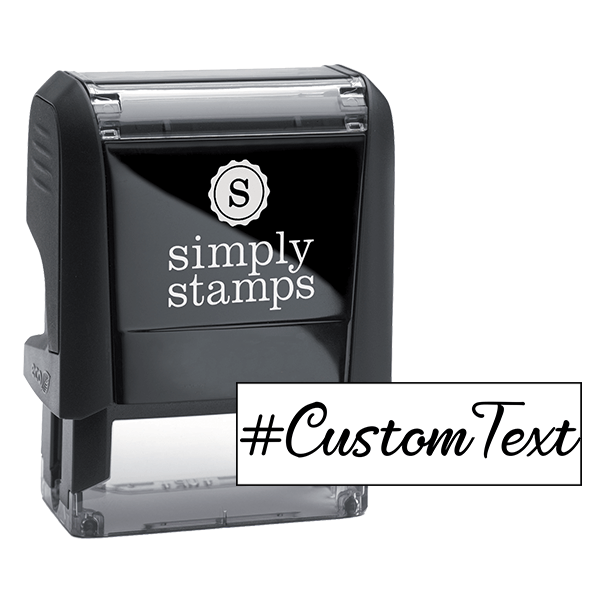 Custom Text Script Hashtag Rubber Stamp Body and Design