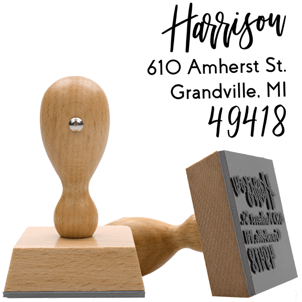Harrison Hand Lettered European Wood Handle Address Stamp Body and Design
