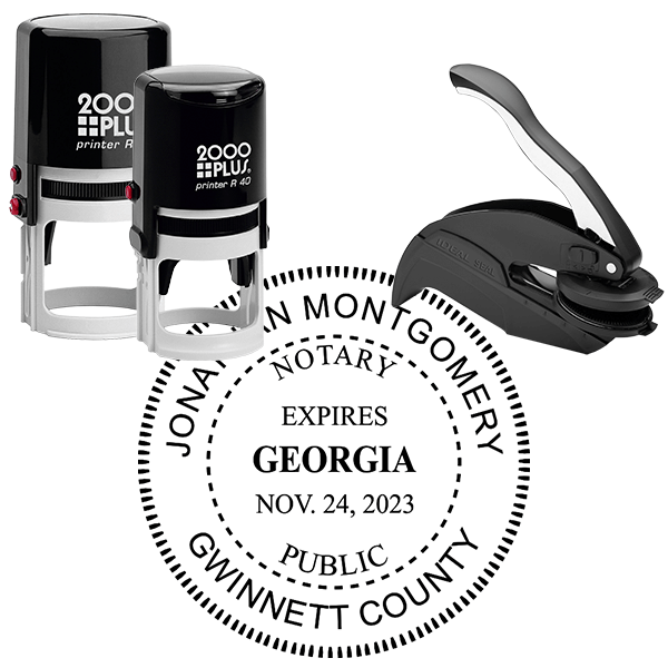 Georgia Notary Round Seal Stamp with Expiration Date