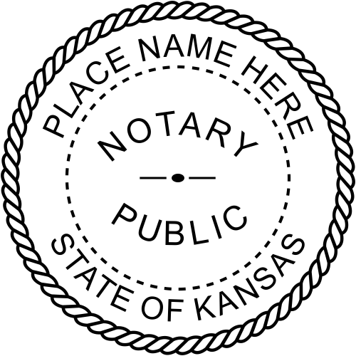 Official Kansas Notary Seal Rubber Stamp