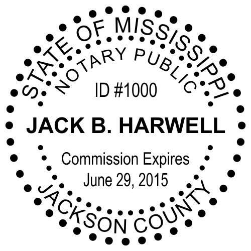 Mississippi Notary Dots Round Stamp