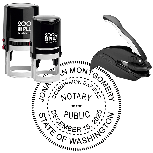 Washington Round Notary Seal Stamp