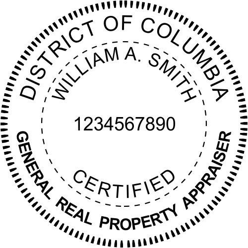 District of Columbia Real Estate Appraiser Stamp Seal