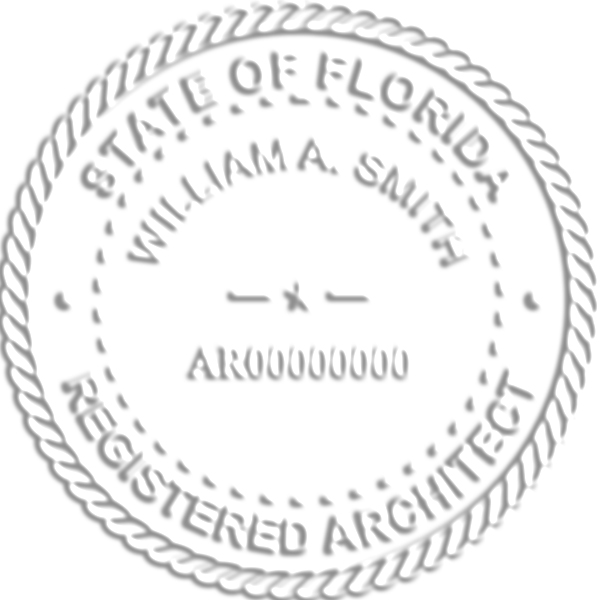 State of Florida Architect embossed impression