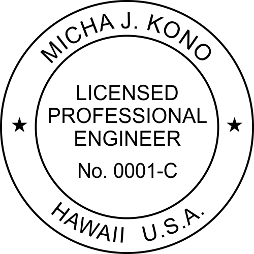 Hawaii Professional Engineer Stamp Seal