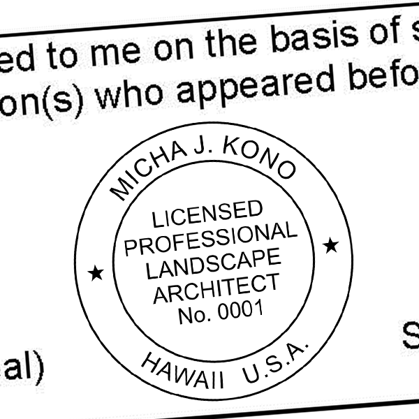State of Hawaii Landscape Architect Seal Imprint