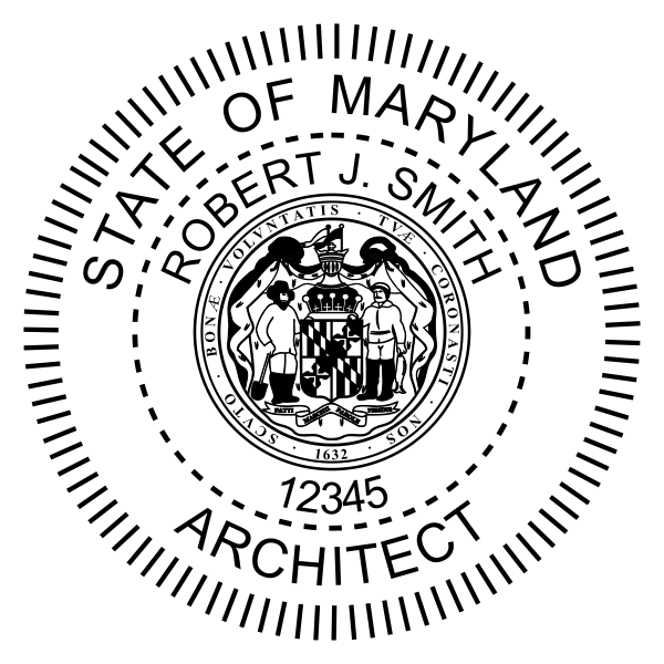 State of Maryland Architect Seal Body and Imprint