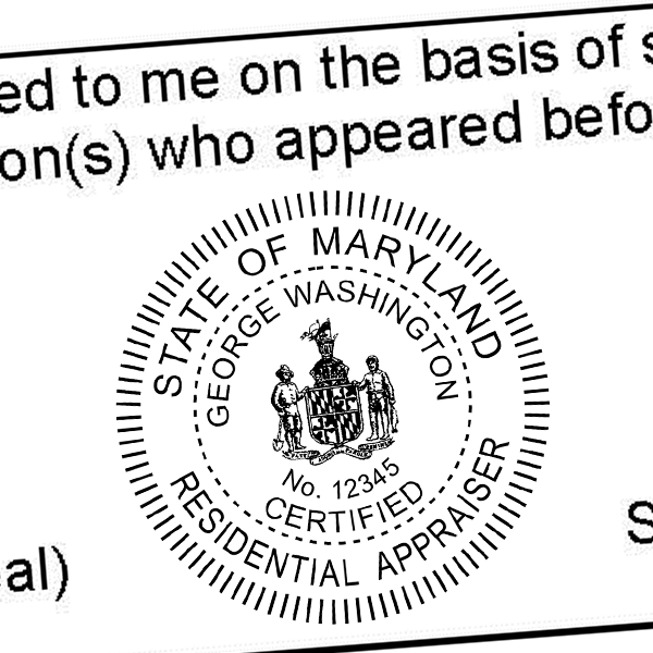 State of Maryland Residential Appraiser Seal Imprint