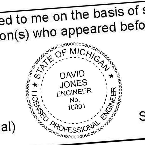 State of Michigan Engineer Seal Seal Imprint