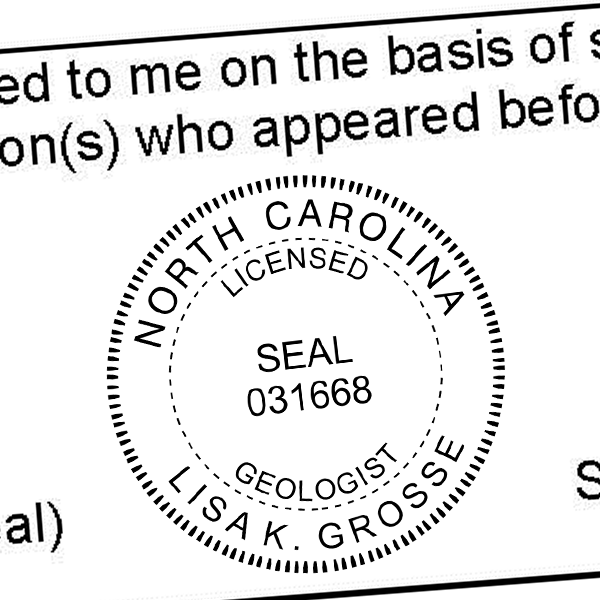 State of North Carolina Geologist Seal Imprint