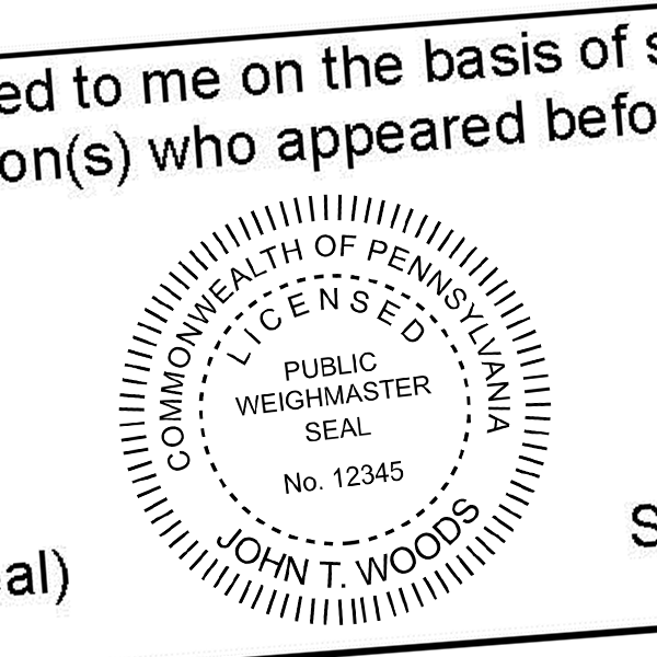 State of Pennsylvania Weighmaster Seal Imprint