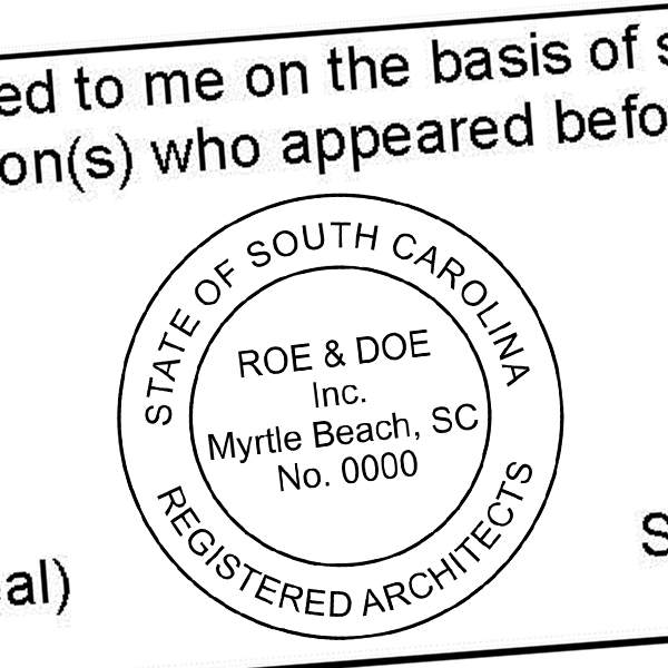 State of South Carolina Architectural Firm Seal Imprint