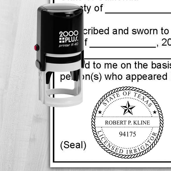 1-5//8 Round Self-Inking Stamp Infusion Personalized Texas Landscape Irrigators and Geoscientists State Seals Licensed Irrigator