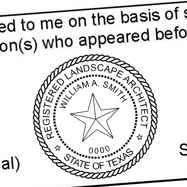 State of Texas Landscape Architect Seal Imprint