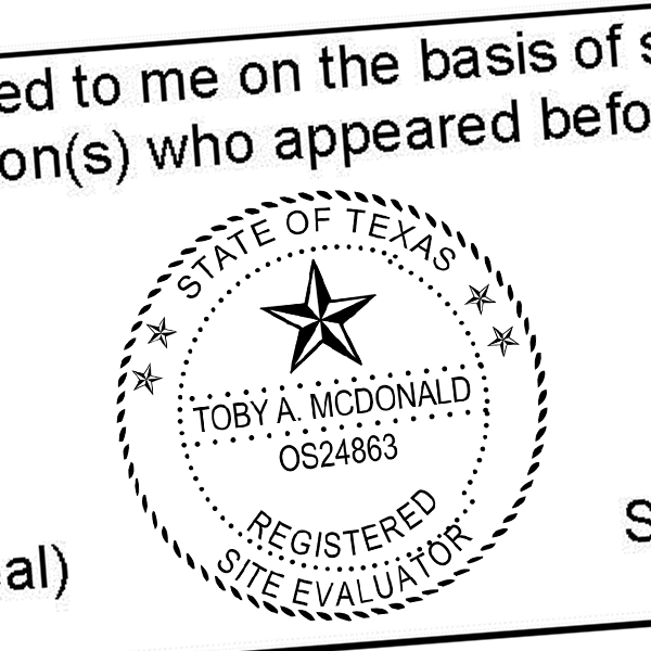 State of Texas Site Evaluator Seal Imprint