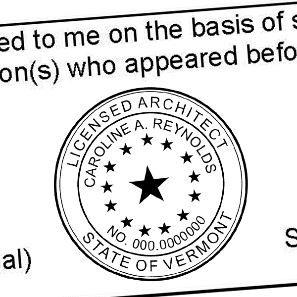 State of Vermont Architect Seal Imprint