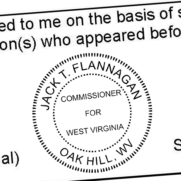 State of West Virginia Commissioner Seal Imprint
