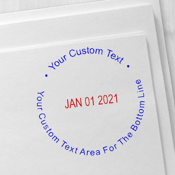 Custom Text Round Dater Stamp Imprint Examples on Envelopes