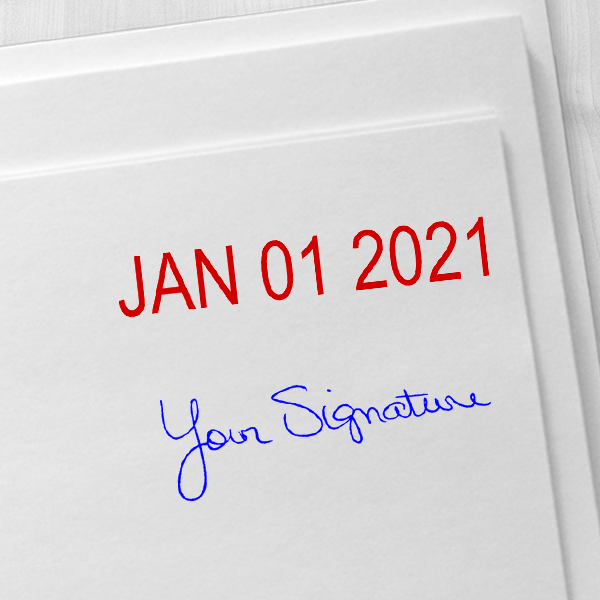 Self-Inking Date and Signature Stamp Imprint Examples on Envelopes