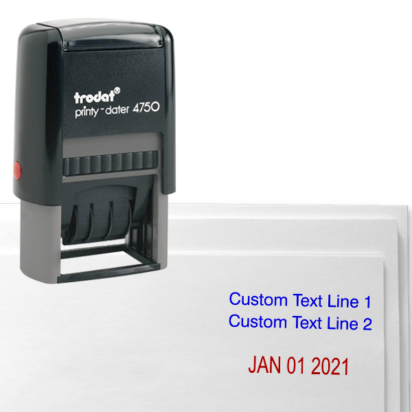 Customized 2 Line Top Date Stamp Simply Stamps