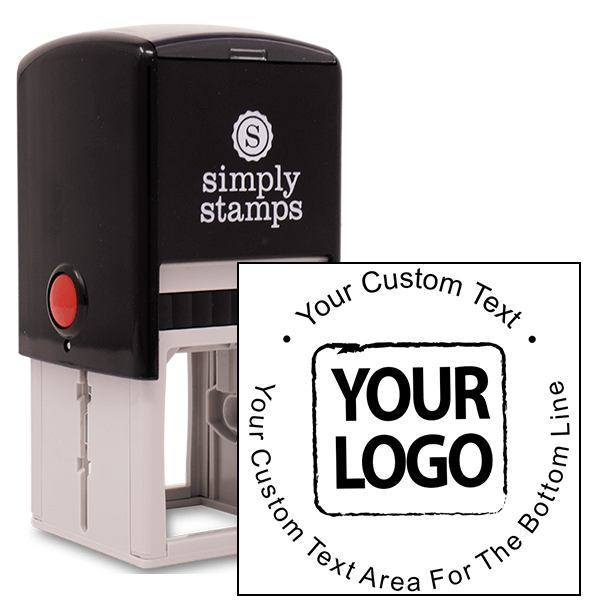Custom Rubber Stamp Body and Design - Simple Round with Logo