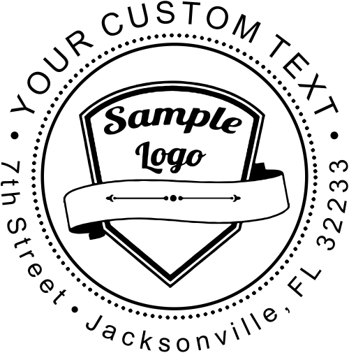 Custom Logo Round address stamper