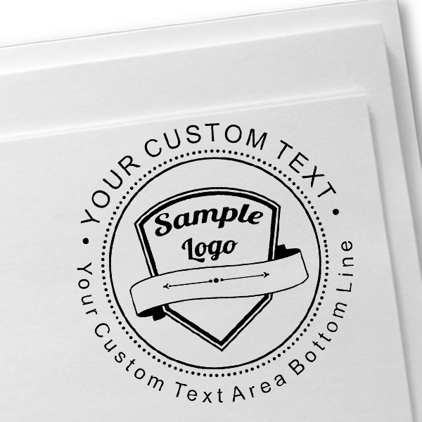 Custom Rubber Logo Stamp - Double Lines Imprint Example