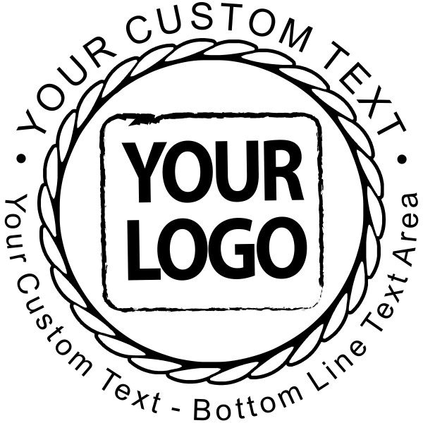 Custom Logo Round Stamp - Rope Design