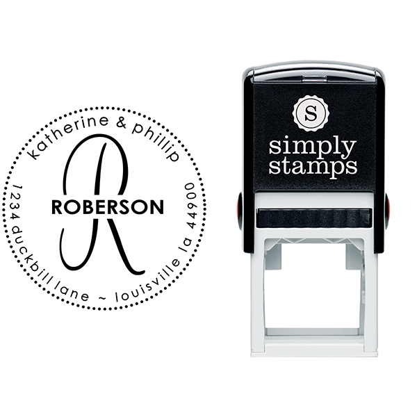 Roberson Monogram Round Address Stamp Body and Design