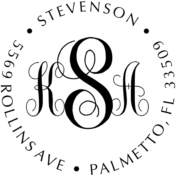 Fancy Monogram Address Stamp - Self-Inking