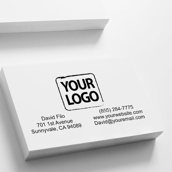 Rectangle Logo Stamp with Contact Information Imprint on Paper
