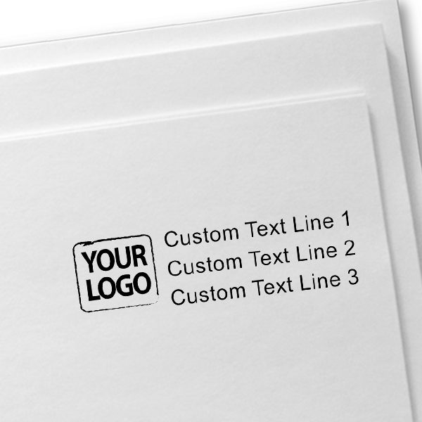 Custom Logo Stamp with 3 Lines of Text Imprint Example