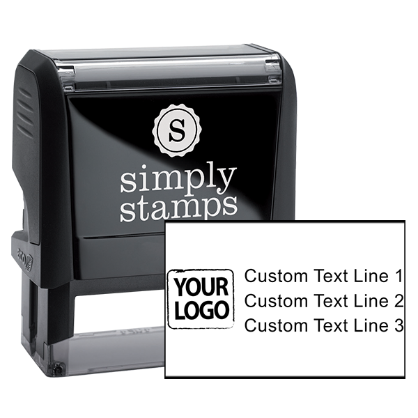 Custom Rubber Stamp - 3 Lines With Your Logo