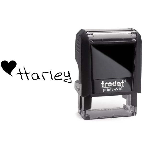 Heart Name Rubber Stamp Body and Design