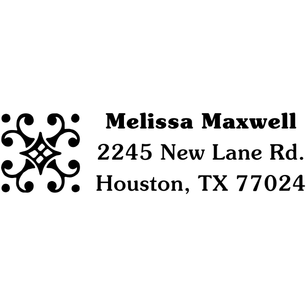 Decorative rectangle address stamp