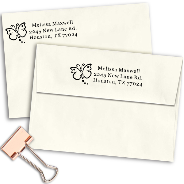 Butterfly Art Address Stamp Imprint Example
