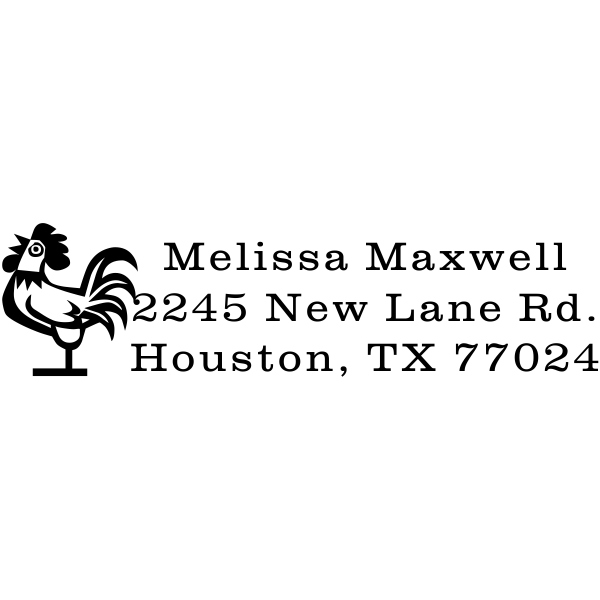 rooster rubber address stamp
