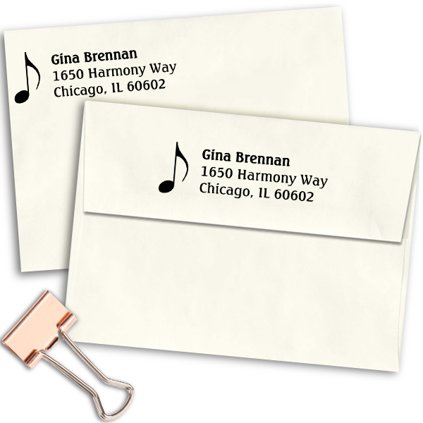 Music Note Address Stamp Imprint Example