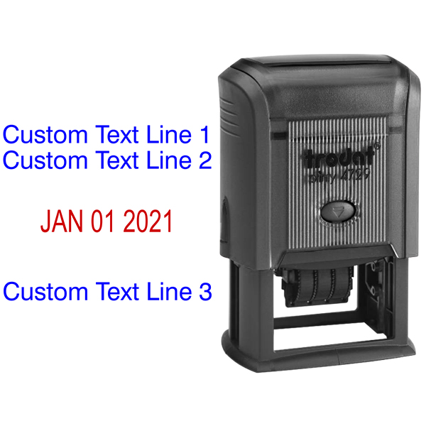 Custom Self-Inking Three Line Dater Stamp Body and Design