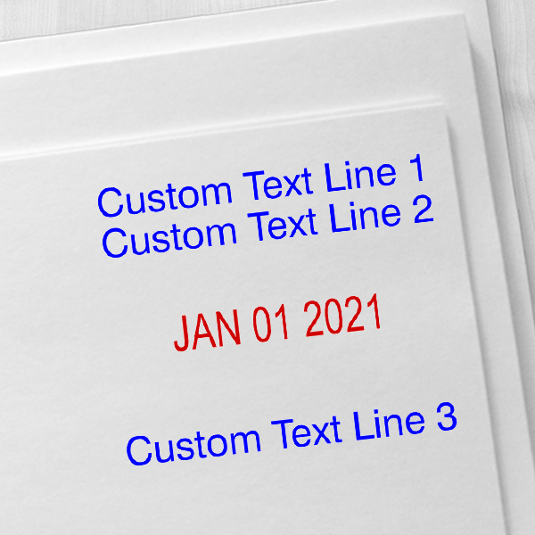 Custom Self-Inking Three Line Dater Stamp Imprint Example