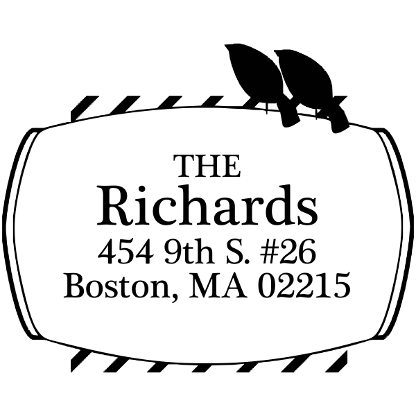perched birds rubber address stamp