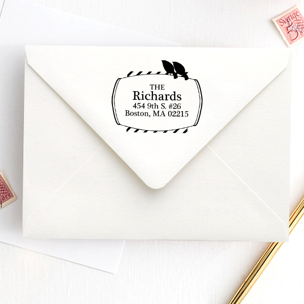Perched Birds Address Stamp Imprint Example